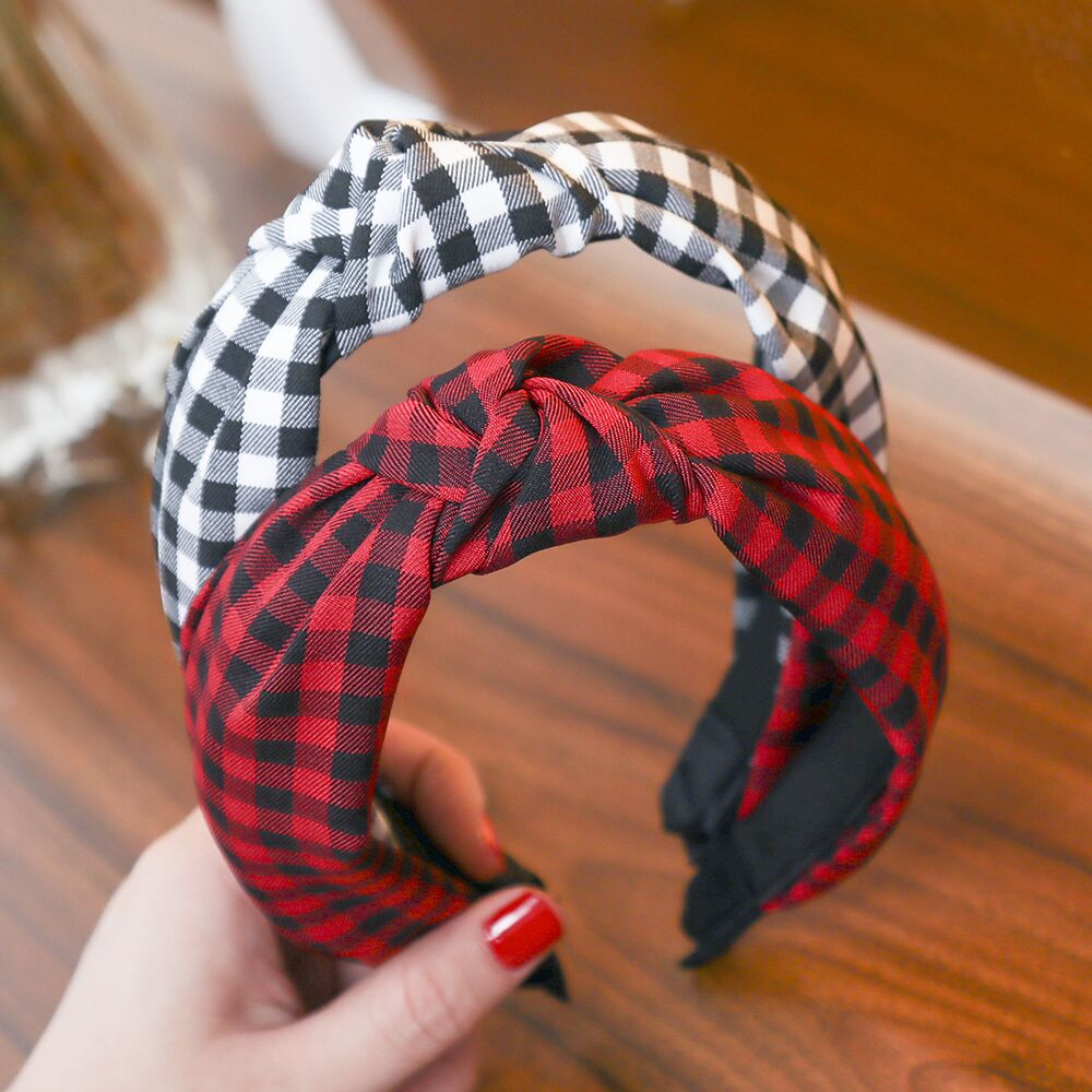 Haimeikang Plaid CottonHair Accessories Knotted Hair Band For Women Headbands