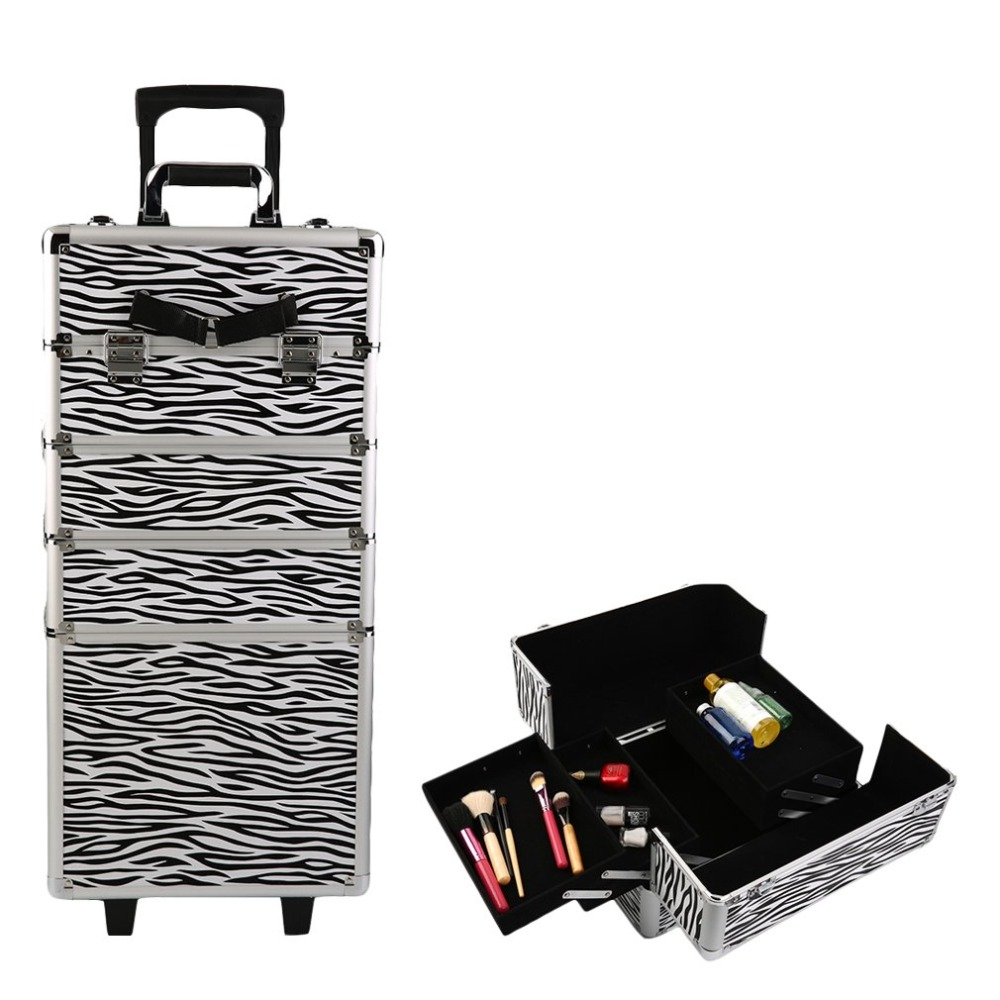 Aluminium Beauty Trolley Cosmetic Bag Hairdressing Box Beauty Case With Wheels Professional Makeup Trolley