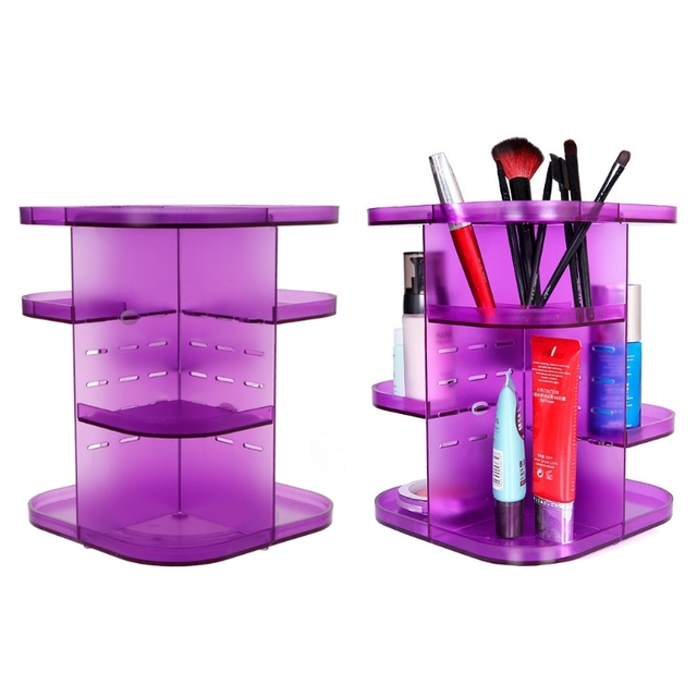 Acrylic Makeup Organizer Case 360 Rotating Cosmetic Storage Box