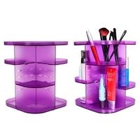 Acrylic Makeup Organizer Case 360 Rotating Cosmetic Storage Box Jewelry Holder Lipstick Storage Organization Storage Boxes Bins