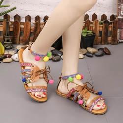 Новинка 2019 г. женские босоножки плюс Размеры женская повседневная обувь летние сандалии в гладиаторском стиле Для женщин в богемном стиле