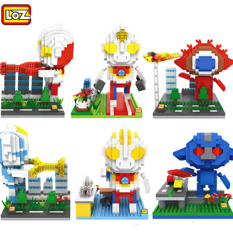LOZ Diamond Blocks Cartoon DIY Building Toys Funny Anime Juguetes Ultraman Auction Figures Monster Kids Gifts Boy Toys 9640-9645 loz small plastic bricks minion micro blocks cartoon diy building toys pegman auction figures toy kids gifts 1201 1208