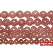 Клубничный кварц, кристаллы, бусины, камень 15 дюймов, нить 4 6 8 10 12 мм, выберите размер для изготовления ювелирных изделий
