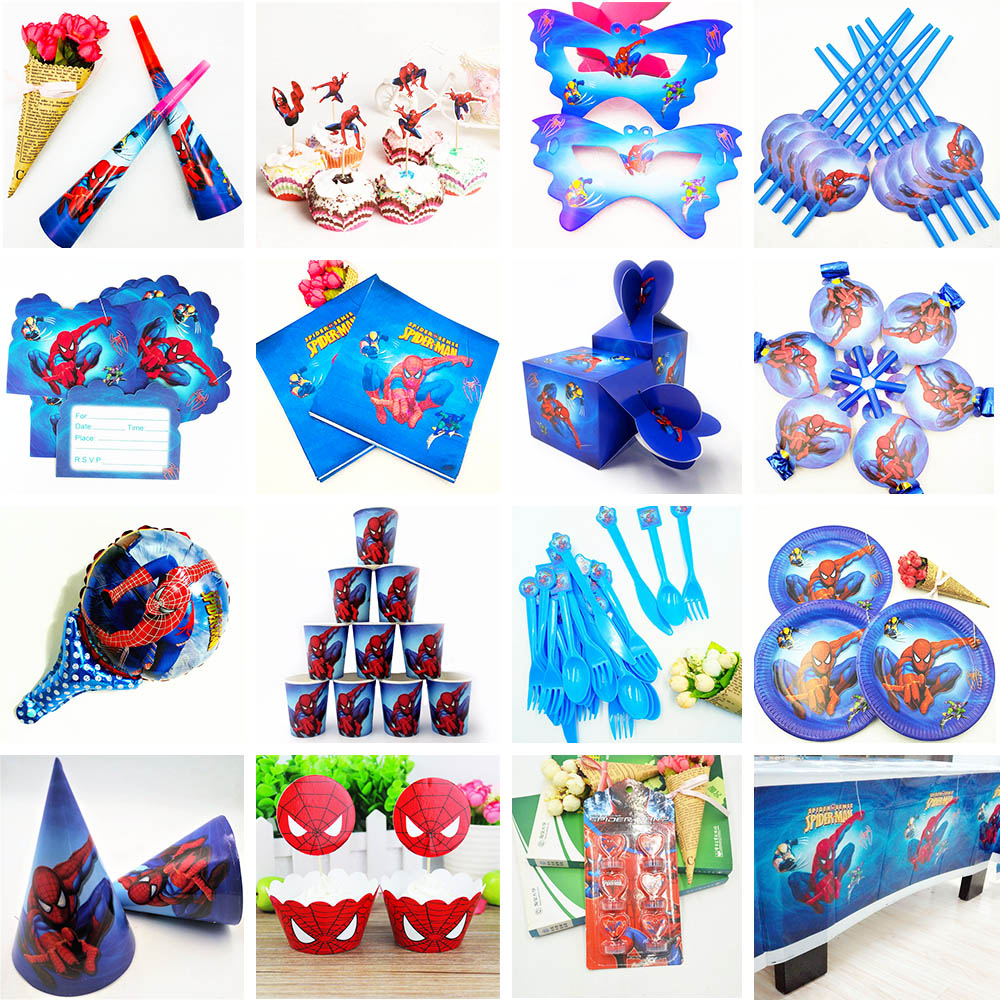 132pcs Spiderman Birthday Party Supplies Kids Tablecloth Straws Cups Plates napkin Superhero Baby Shower Decorations Favors Gift in Disposable Party Tableware from Home Garden
