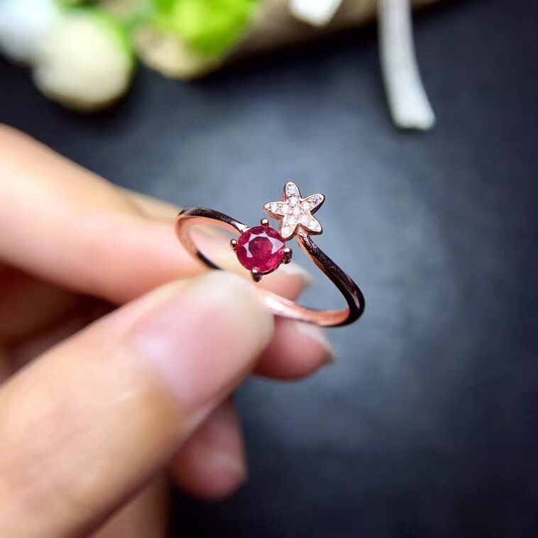 Fashion Star Ring Ruby ring Free shipping Real and natural ruby 925 sterling silver 4mm gemstone Fine women jewelry