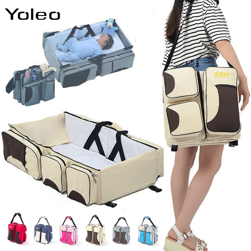 Newborn Baby Portable Travel Foldable Baby Bed Infant Changing Diapers Baby Cot Mummy Pack Bag Newborns Baby Crib Multi-function