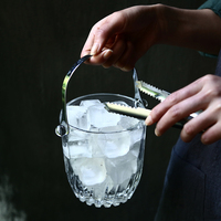 Glass ice bucket home restaurant small European cold drink wine champagne ice bucket with a ice clip as gift