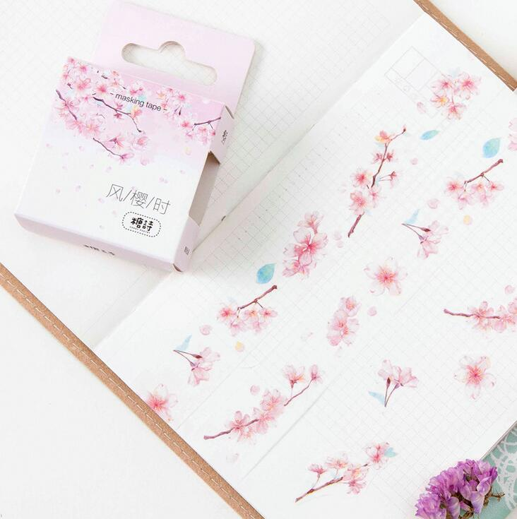 When Sakura Pink Flower Come Washi Tape DIY Scrapbooking Sticker Label Masking Tape School Office Supply