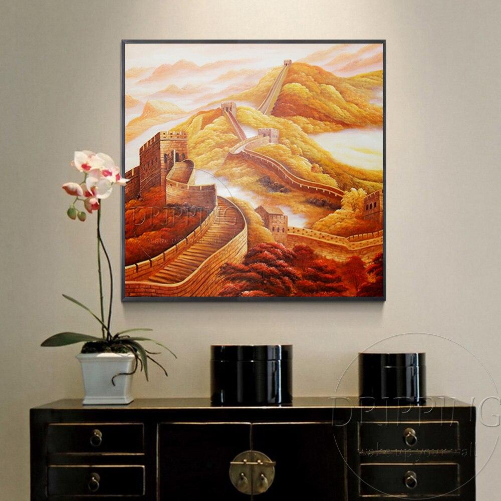 China Kunstenaar handgeschilderde Hoge Kwaliteit Speciale Landschap Grote Muur Olieverf Chinese Landschap Grote Muur Olieverf - 2