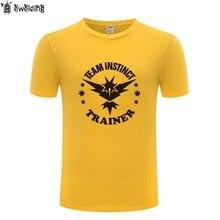 1d7e35f6 Team Instinct Trainer Pokemon GO Printed Men T Shirt Game T Shirts Men  Cotton Short Sleeve