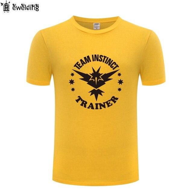 da32d91b Team Instinct Trainer Pokemon GO Printed Men T Shirt Game T Shirts Men  Cotton Short Sleeve Tshirt Streetwear Tee Shirt Homme New