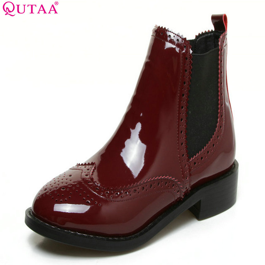 QUTAA 2018 Women Ankle Boots Round Toe Square Mid Heel Fashion All Match Pu Leather Women Motorcycle Boots Size 33-43 qutaa 2018 women ankle boots square high heel pointed toe zipper all match women shoes ladies motorcycle boots size 34 43