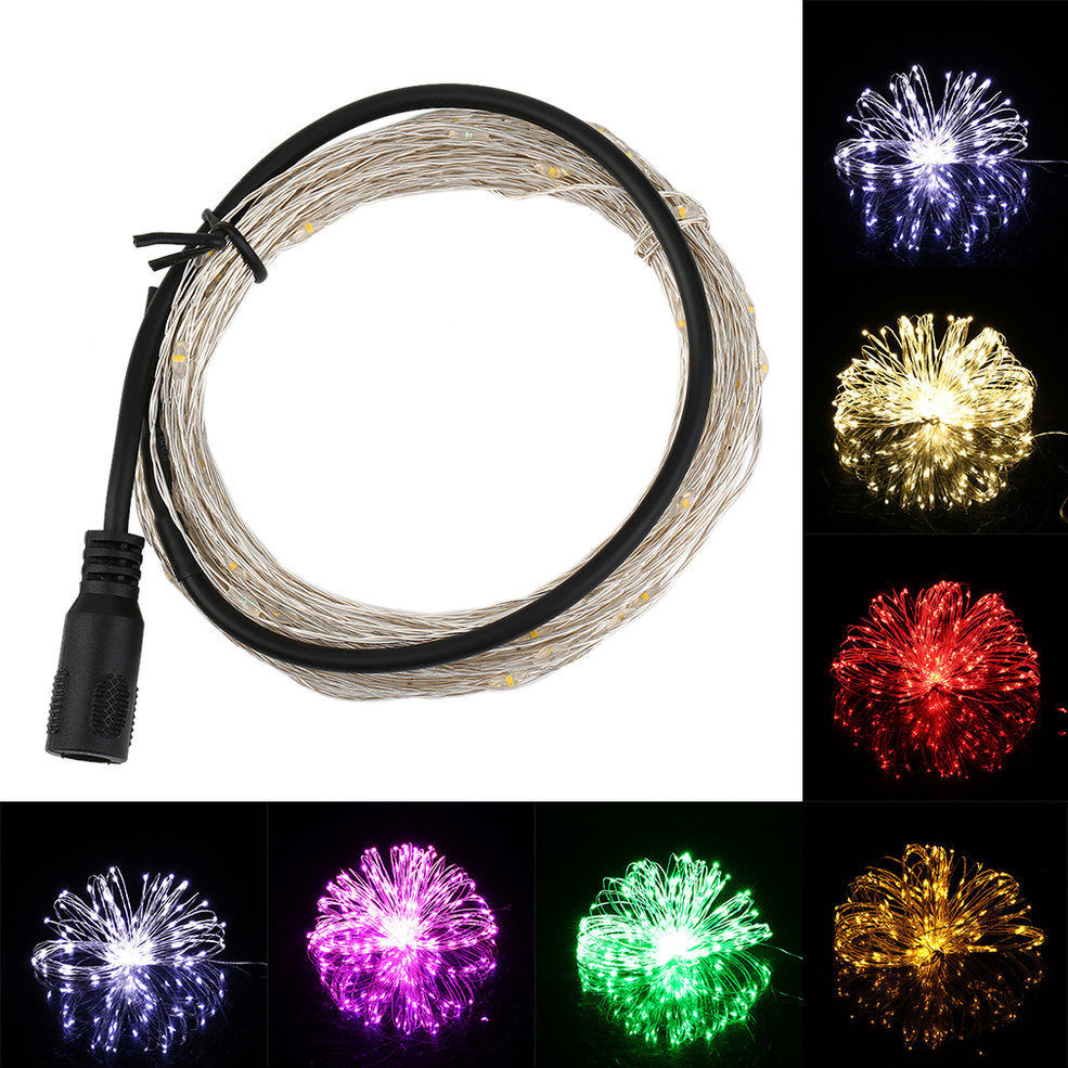 10pcs 10M/33FT 100LED Silver Wire String Fairy Light 12V For Christmas Wedding Party цена