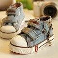 Meninos Sapatilhas Hot 2016 Primavera Outono Crianças Sapatos Respirável Sapatos de Bebê Meninas de Jeans Denim Botas Flat Casuais Sapatas de Lona EUR 19-24