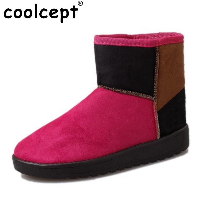 CoolceptWomen Winter Snow Boots Half Short Flats Boots With Thick Fur Shoes Winter Botas Short Boot Women Footwear Size 36-40