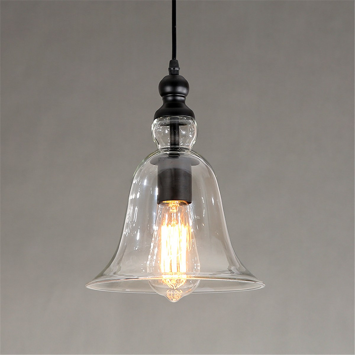 Single Vintage Loft Retro Pendant Light Glass Lampshade Hanging Lamp Fixtures Restaurant Bar Coffee Shop Home Decoration