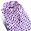 Caiziyijia 2017 camisas xadrez dos homens da longo-luva da cor do contraste conforto soft 100% algodão casual slim-fit botão-para baixo camisa de vestido
