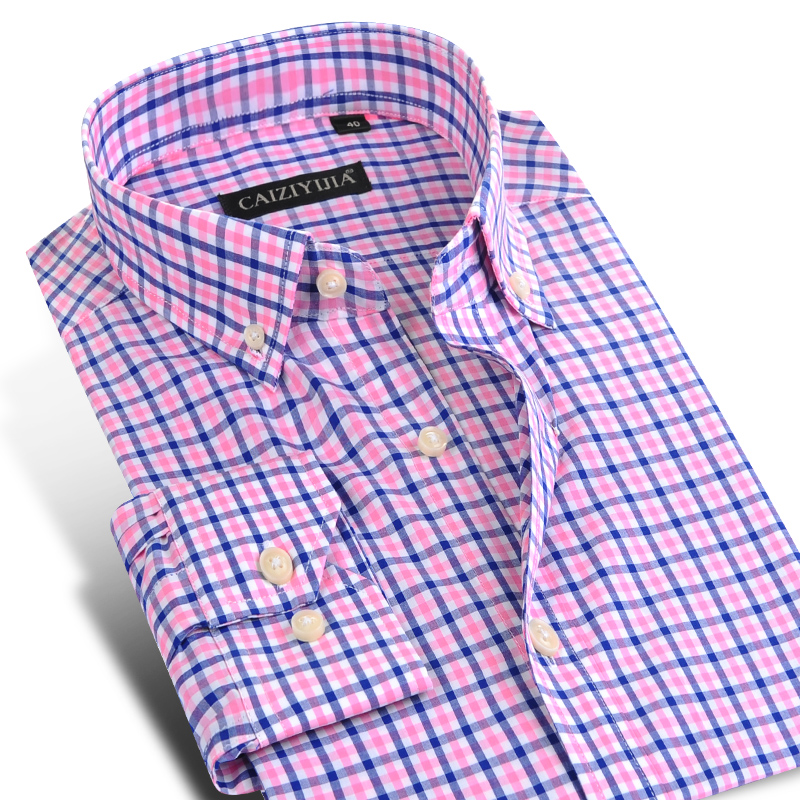 Mænds lange ærmer med kontrastplaid-kjole Shirts Komfortabel blød 100% bomulds-mandlig tops Smart Casual Slim-fit Button-Down Shirt