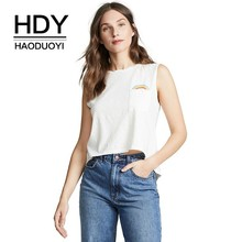 HDY Haoduoyi Femme Summer Fashion Tees Simple Casual Tops Round Collar Sexy Sleeveless Lovely Rainbow Print Pocket Vest