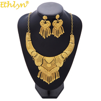 Ethlyn Luxury Necklace/Earrings Jewelry Set For Women Girls Gold Color Elegant Arab/Ethiopian Bridal Wedding/Party Gifts S193