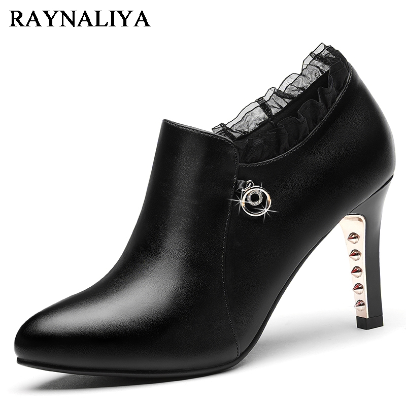 2018 Spring Autumn Brand Genuine Leather Women Deep Pumps Crystal High Heels Platform Shoes Woman Zip Ol Shoe YG A0100 in Women 39 s Pumps from Shoes