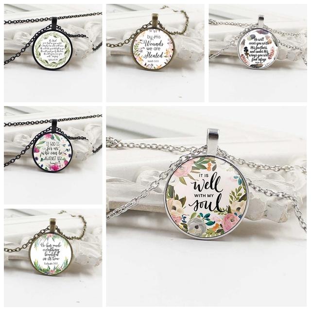 Faith Inspiring Biblical Quotes Crystal Pendant Necklace