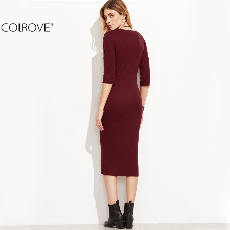 COLROVIE Burgundy Bodycon Dress Office Ladies 2017 Womens Dresses Autumn New Elegant Women's Dress Women 3/4 Sleeve Pencil Dress 1