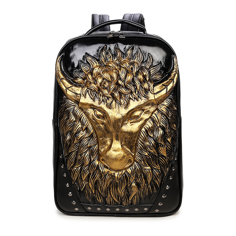 ФОТО 2017 New Stylish Mens Designer Backpack Cow Head Special Cool Shoulder Bags For Teenagers Quality Leather Laptop Bagpack Zaino