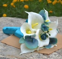 Handmade Artificial Flower Wedding Flower Bride Holding Flowers Blue White Calla Lily Phalaenopsis