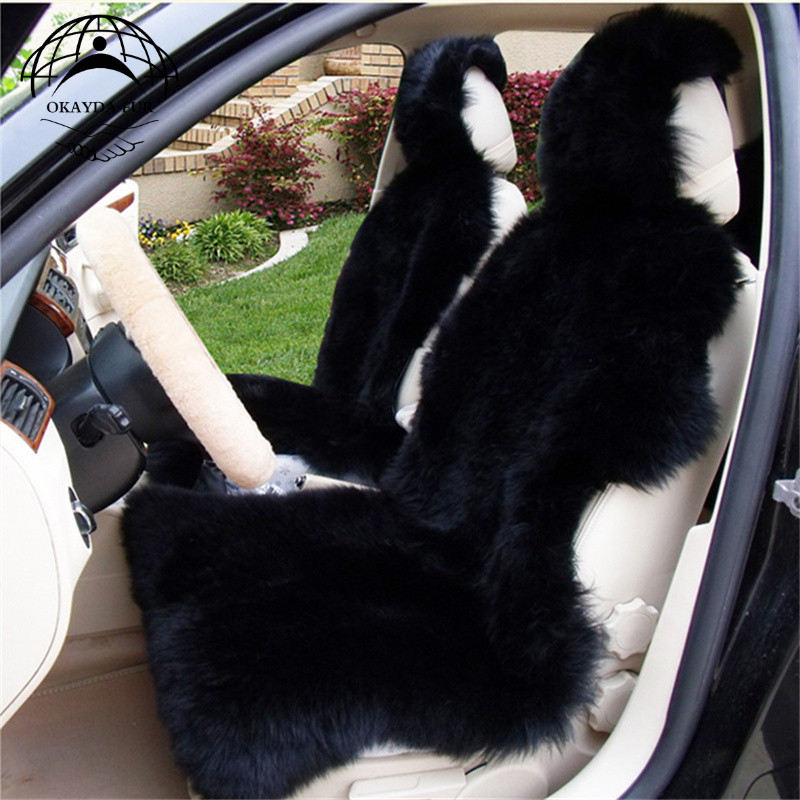 Australia sheepskin car seat cover black style universal Interior accessories fur cushion deluxe car seat cover free shipping