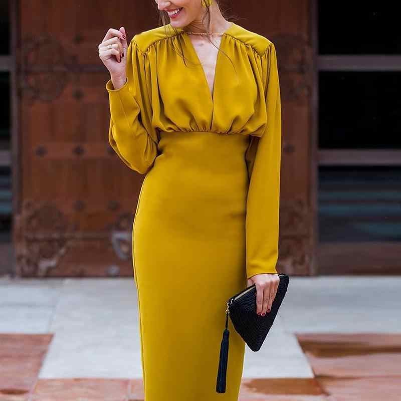 Women Ruched Design Peplum Office Dress Long Sleeve Midi Dress Summer 2019 Elegant V Neck Party dresses Yellow vestidos