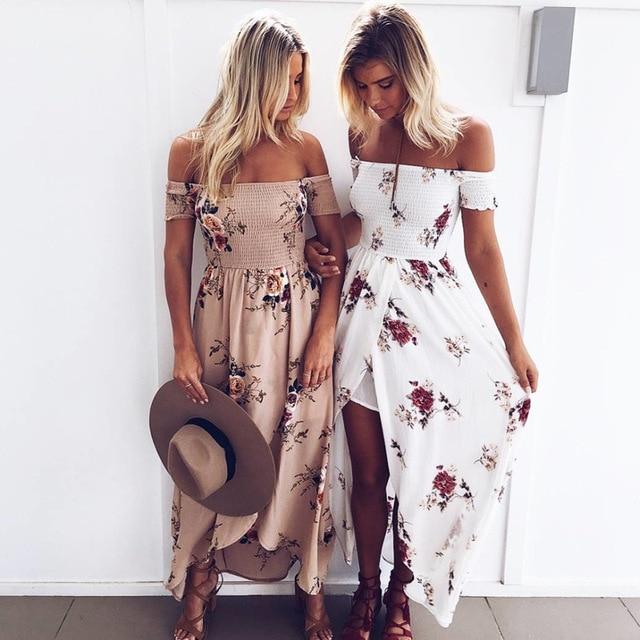 Летние платья Boho Стиль длинное платье Для женщин открытыми плечами и Цветочный принт Винтаж шифон Белый Макси Платье Vestidos De Festa