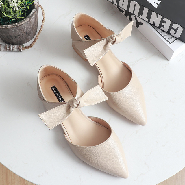 ankle leather bow-knot shoes woman low heel cut out pumps 4