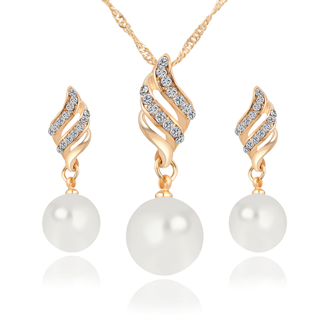 Luxury Imitation Pearl Jewelry Set with Crystals
