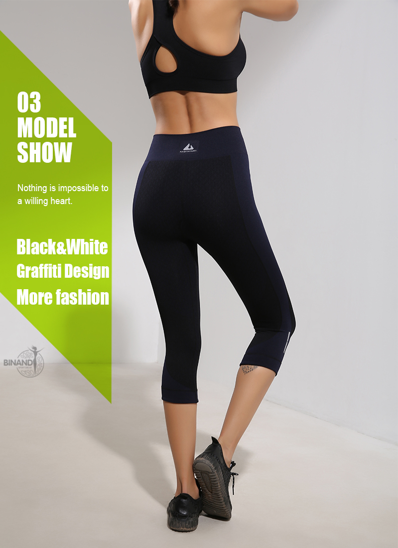 BINAND Summer Women Running Tights Elastic Breathable Sports Pants Slim Push Up Exercise Gym Fitness Yoga Capris 3/4 Pants 5