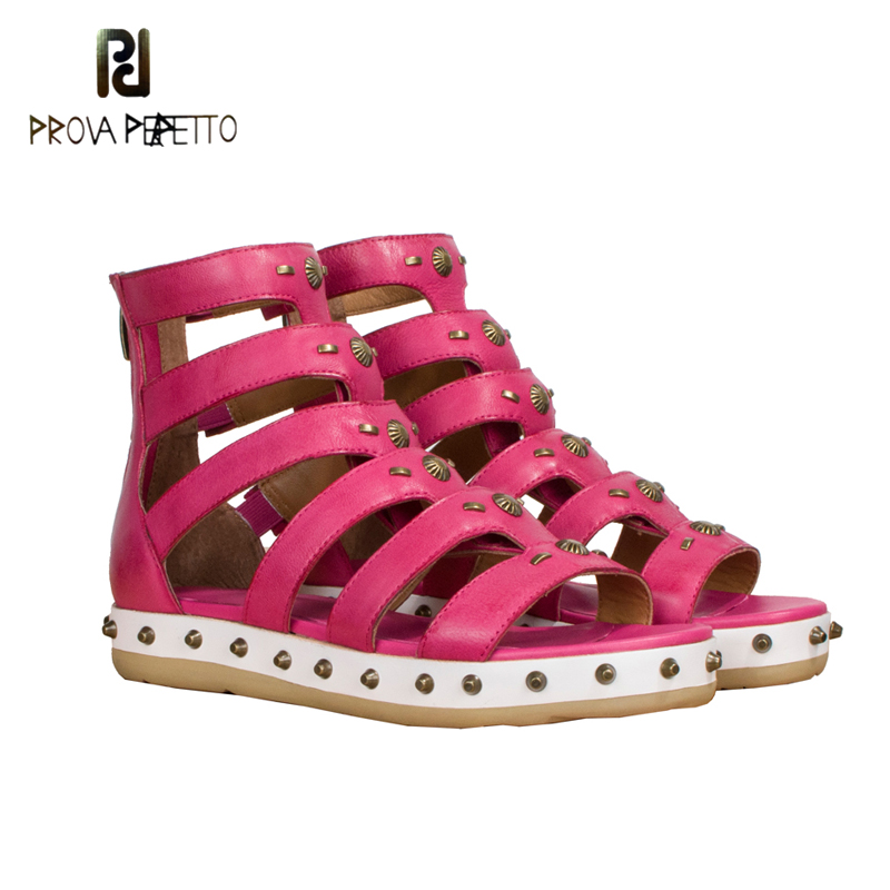 Prova Perfetto 2018 Summer sandal shoe gladiator real sheepskin leather rose red black cut out rivets shoe punk rome style