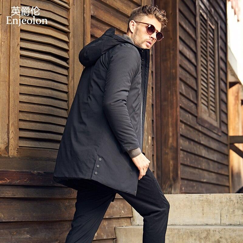 Enjeolon Brand Winter Thick Long Jacket Coat Men Long Coat Hoodies Men Jcaket Long Parka Jacket Men Warm 3XL Coat Men MF0624