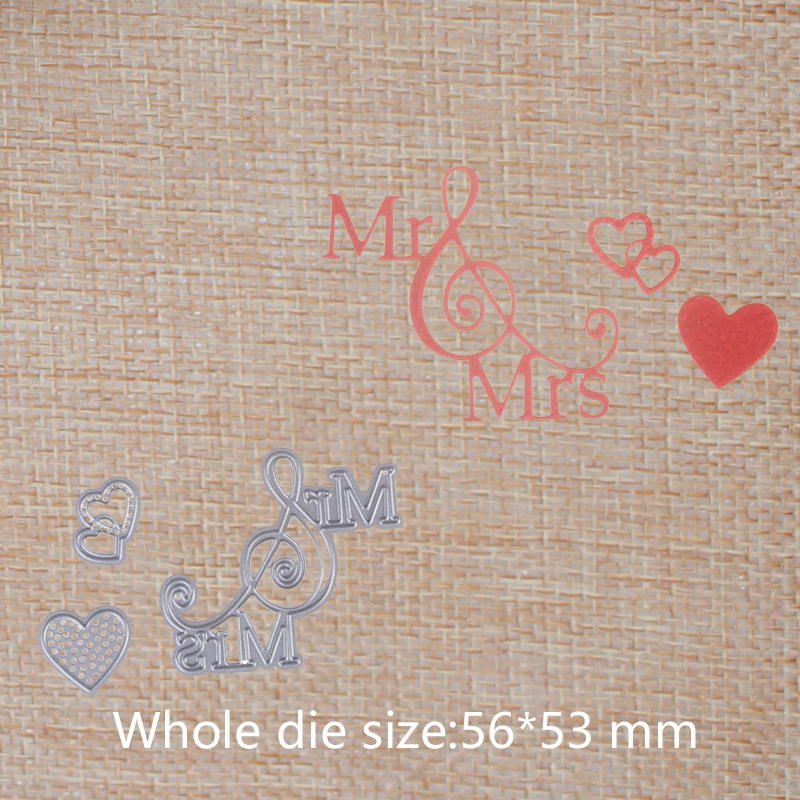Heart and 39 Mr 39 39 Mrs 39 Letters Metal Cutting Dies For DIY Scrapbooking Embossing Photo Album Paper Cards mold 56 53 mm in Cutting Dies from Home amp Garden
