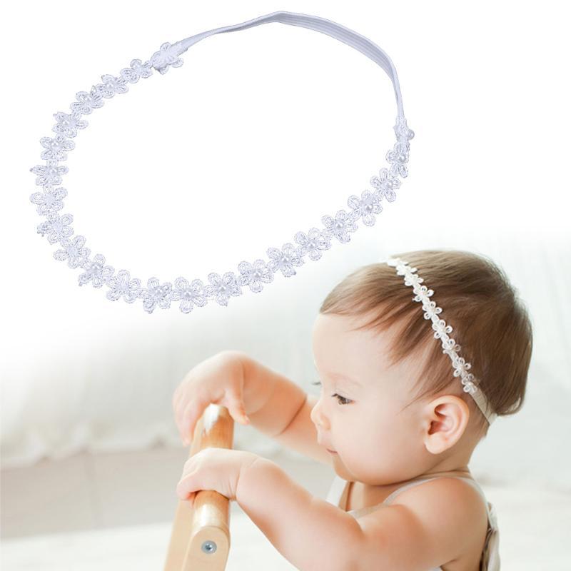 White Lace Flower Pearls Decoration Headband for Baby Girls Hair Decor Accessory Elastic Hairband Headwear Headband
