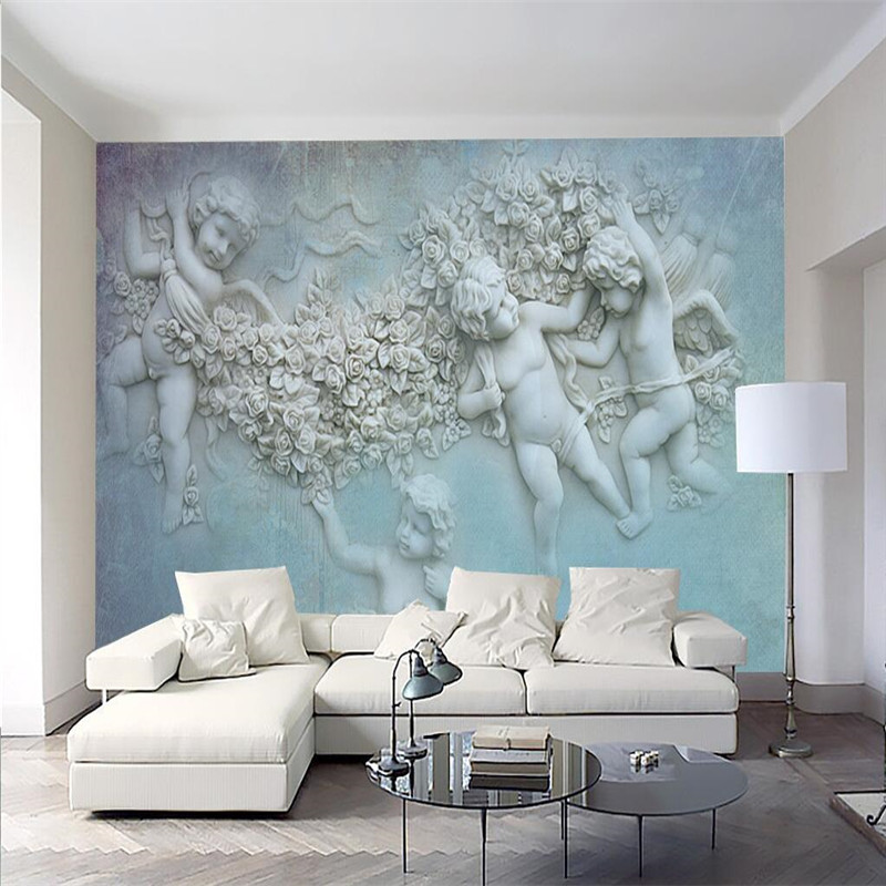 beibehang custom any wall paper living room background angel relief art wall covering restaurant. Black Bedroom Furniture Sets. Home Design Ideas