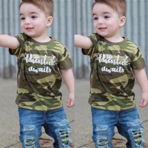 Cute Kids Baby Boys Camo Tops T-shirt Denim Hole Pants Leggings Outfits Clothes