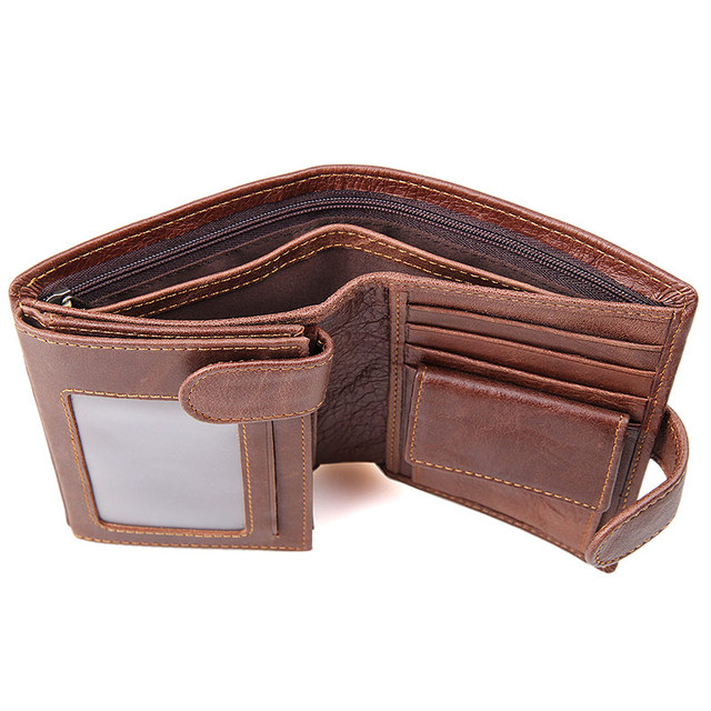 JMD 100% Genuine Leather Vintage Wallet RFID ID Identity Credit Card Blocking Leather Wallet R-8129C