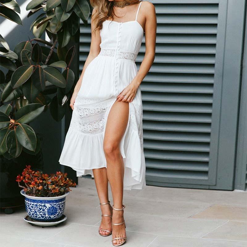 Sundress 2018 Fashion Women Sexy Spaghetti Straps Patchwork Lace Dresses Strappy Buttons Summer Vestido Split Hem Robe Femme