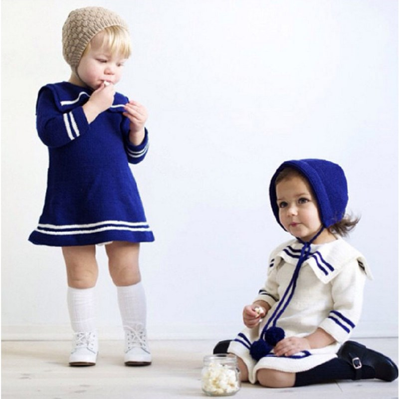 British College Wind Wool Dress Pure Cotton Lovely Ins Girl Sweater, Blue White Baby Girl Dress Sailor Collar рубашка insight college perve eshay blue