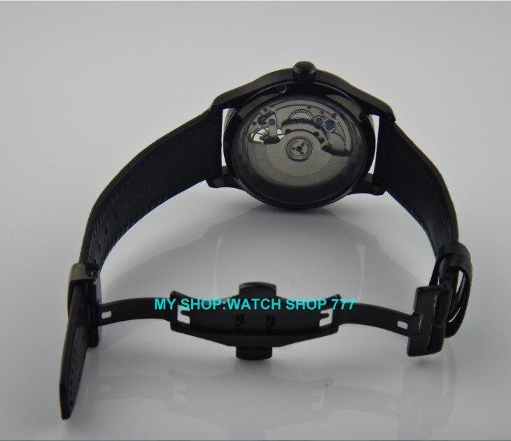 43 мм Парнис бренд Самовзводные техники двигаться Для мужчин t Бабочка Пряжка механические часы PVD Для мужчин часы оптовая продажа o49