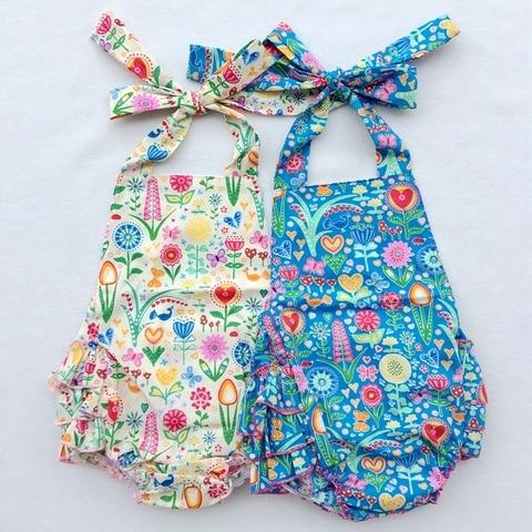 novo design floral macacao bolha ruffle macacao de bebe recem nascido de algodao meninas estilo