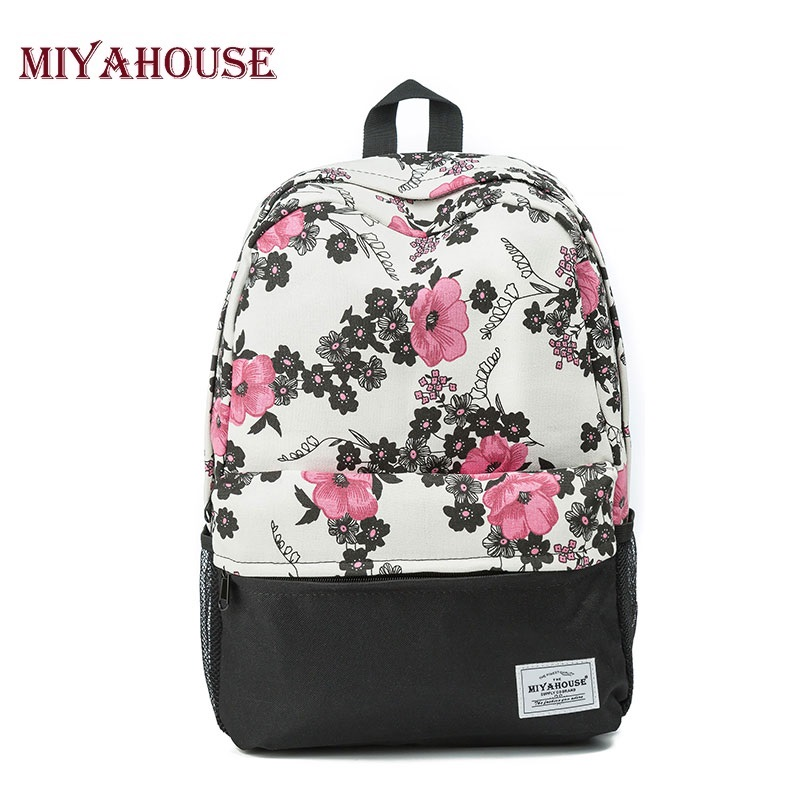 Miyahouse Trendy Women Backpacks Canvas School Bags For Teenager Girls Vintage Floral Printed Travel Leisure Laptop Backpack