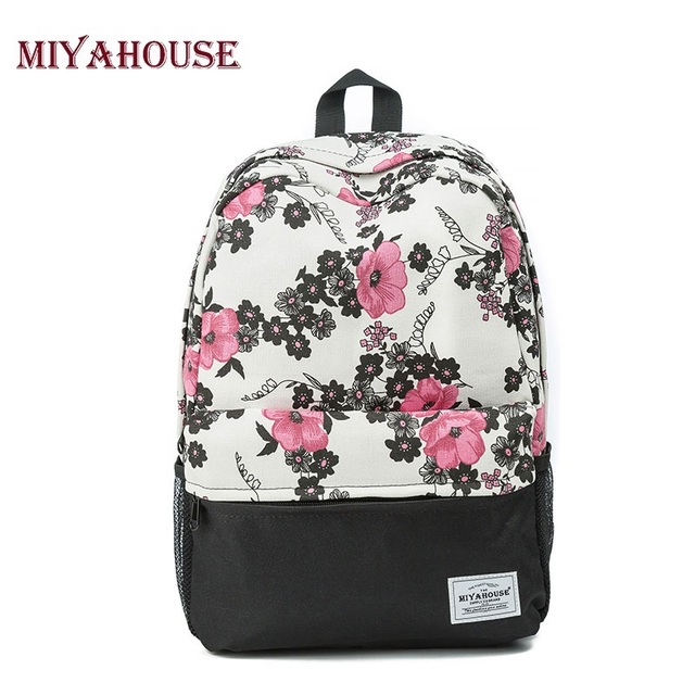 Miyahouse Trendy Women Backpacks Canvas School Bags For Teenager Girls  Vintage Floral Printed Travel Leisure Laptop ad1e044789bf9