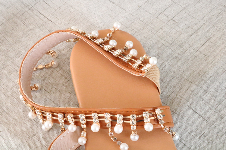 HTB1ojc0aULrK1Rjy0Fjq6zYXFXad Women sandals summer shoes flat pearl sandals comfortable string bead slippers women casual sandals size 34 - 43