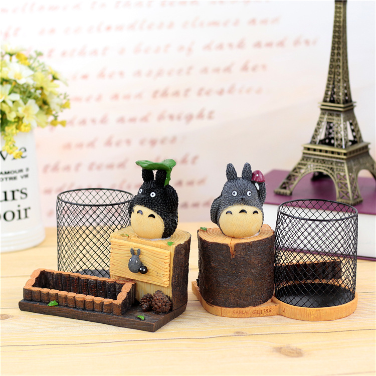 Kawai Resin Totoro Hellokitty Pencil Holder Cartoon Doraemon Pen Storage Box Case Cute Toy Girls Boys Kids Birthday Gift